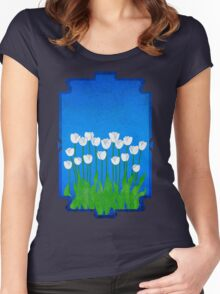 White Tulips Women's Fitted Scoop T-Shirt