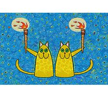 CATS WITH FLAMING TORCHES Photographic Print