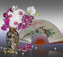 Asian still life with orchids by Irisangel