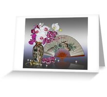 Asian still life with orchids Greeting Card
