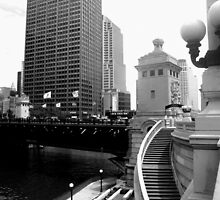 Riverwalk; Mag-Mile on Top B/W by KJ Patten Photography