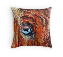 Blue-eyed Blonde - Belgian Draft Horse Throw Pillow