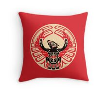 Firebird Thunderbird with Raised Wings, Native American Style Throw Pillow