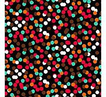 Festive confetti print in bright red black orange colors Photographic Print