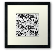 Tropical print in black and white with fern leaves Framed Print