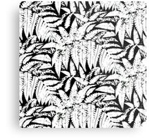 Tropical print in black and white with fern leaves Metal Print