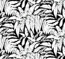 Tropical print in black and white with fern leaves by tukkki