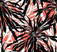 Bold tropical print with palm leaves on pink background by tukkki