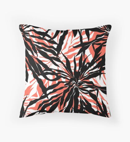 Bold tropical print with palm leaves on pink background Throw Pillow