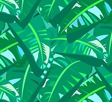 Tropical print in multiple green colors with banana palm leaves by tukkki