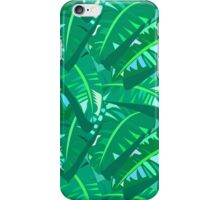 Tropical print in multiple green colors with banana palm leaves iPhone Case/Skin