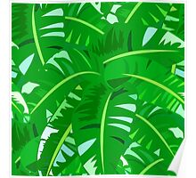 Bright tropical floral print with big banana palm leaves Poster