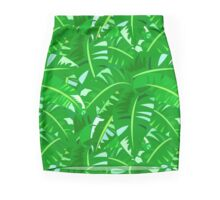 Bright tropical floral print with big banana palm leaves Pencil Skirt