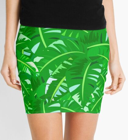 Bright tropical floral print with big banana palm leaves Mini Skirt