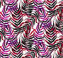 Pink floral tropical print with palm leaves by tukkki