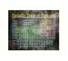 Vintage Chalkboard Periodic Table Of Elements Art Print