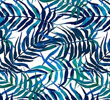 Hand drawn in watercolor floral pattern with palm leaves by tukkki