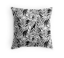 Tropical floral print with palm leaves in black and white Throw Pillow