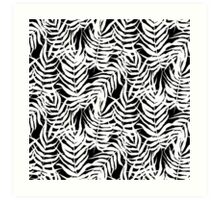 Tropical floral print with palm leaves in black and white Art Print