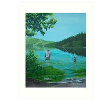 Dad and Son Fishing Art Print