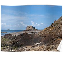 Fort along coastline Poster