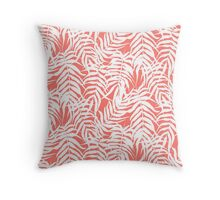 Tropical print in pink and white with palm leaves Throw Pillow