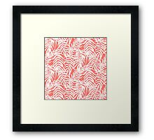 Tropical print in pink and white with palm leaves Framed Print