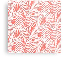 Tropical print in pink and white with palm leaves Metal Print
