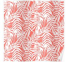 Tropical print in pink and white with palm leaves Poster