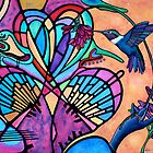 Hummingbird and Stained Glass Hearts by Lori Miller