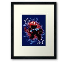 Super Smash Bros. American Mario Silhouette Framed Print