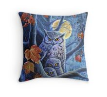 Harvest Moon Owls Throw Pillow