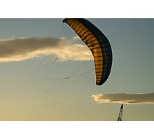 Crane, kite and clouds Photographic Print