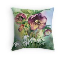 Snowdrops and Hellebores Throw Pillow