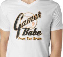 SF Giants Gamer Babe from San Bruno Mens V-Neck T-Shirt