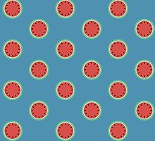 Watermelon Polka Dot on Light Blue by CorrieJacobs