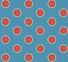 Watermelon Polka Dot on Light Blue by CorrieJacobs
