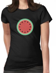 Watermelon Polka Dot on Light Blue Womens Fitted T-Shirt