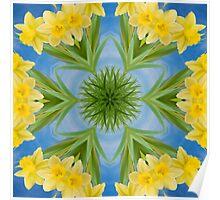 Spring Daffodil Kaleidoscope Poster