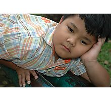 little boy get bored Photographic Print