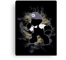 Super Smash Bros. Black Mario Shirt Canvas Print