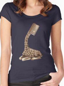 giraffe brush Women's Fitted Scoop T-Shirt