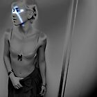 Woman in Pearlgrey with Blue Sparks by Reinvention