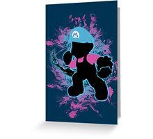 Super Smash Bros Blue Mario Silhouette Greeting Card