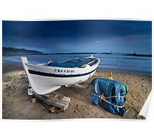 Boat in the beach. Nocturne Poster