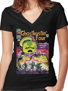 The Ghostbustin Four #49 Women's Fitted V-Neck T-Shirt