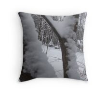 Snow buried dog house Throw Pillow