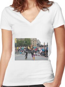 Witty Look perform in Trafalgar Square during the Buskin London Festival Women's Fitted V-Neck T-Shirt