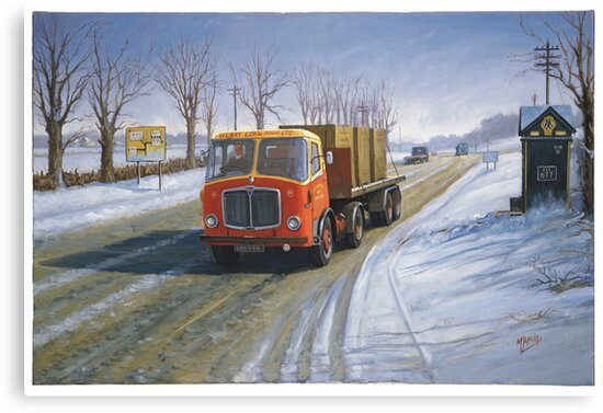 AEC Mandator in the snow. by Mike Jeffries