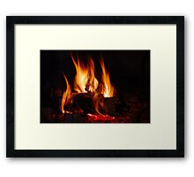 Fire in fireplace Framed Print